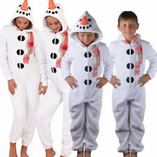 Cute, Cuddly Ladies, Kids Fleece All-in-One Snowman Jumpsuit with Carrot Nose
