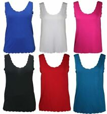 Ladies Scallop Neck Sleeveless Tshirt Top Womens Stretch Scoop Neck Vest Top