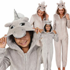 Cute, Cuddly Ladies, Kids Silver Sparkle Unicorn Jumpsuit with 3D Horn and Mane
