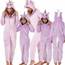 Cute, Cuddly Ladies, Kids Lilac Sparkle Unicorn Jumpsuit with 3D Horn and Mane