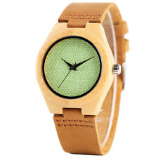 Handmade Nature Wooden Watch Nylon Dial Leather Quartz Bamboo Wrist Bracelet