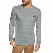 Superdry O L Vintage Embroidery Mens T-shirt Long Sleeve - Flint Steel Grit