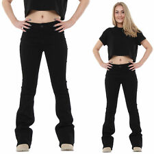 New Womens Ladies Black Bootcut Flared Mid Rise Jeans Stretch Denim Flares
