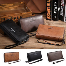 Men Men's Premium Real 100% Leather Man Bag Kit Clutch Holder Large Wallet Purse