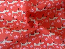Reindeer Christmas Fabric, Red Polycotton Easy Care Material, Xmas Crafts