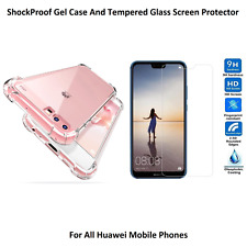 ShockProof Gel Case Cover & Tempered Glass Screen Protector For Huawei Phones