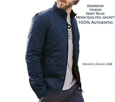 💙 Barbour Hoxun Navy Blue Brown Diamond Quilted Mens Lightweight Jacket Coat BN