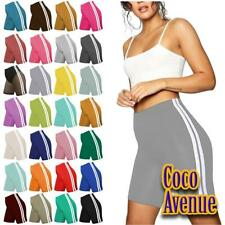 New Ladies Side Stripe Plain Casual Gym Sports Pants Biker Summer Cycling Shorts