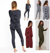 WOMENS LADIES MARL BOW BACK TOP TRACKSUIT JOGGING SET LOUNGEWEAR PLUS SIZE 8-24