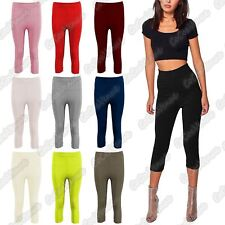 Ladies Ribbed Fitness Workout Gym Yoga Capri Active Casual Cropped 3/4 Leggings