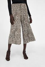 ZARA NEW PLEATED TROUSERS LEOPARD PRINT CULOTTES CROPPED FLOWING SIZE XS-XXL