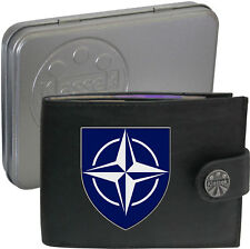 NATO  on Mens Wallet Real Leather RFID Chain Keyring TIN BOX