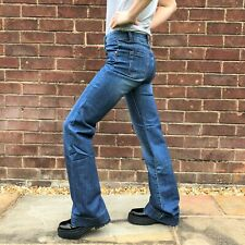 New Womens Mid Rise Stonewash Blue Faded Stretch Denim Flared Bootcut Jeans