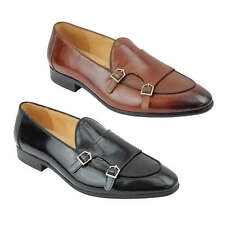 Mens Real Leather Black Patent Monk Shoes Low Cut Smart Casual Vintage Loafer