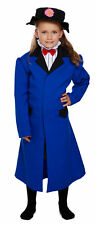 Childrens Girls Nanny Fancy Dress Poppins Long Blue Coat Hat Mcphee WBD Mary