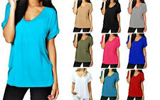 Womens Plain V Neck Baggy T Shirt Casual Top Boyfriend Roll Sleeve Loose Fit