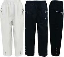 Ladies Womens Cropped Cargo Pants Long Shorts Beach Trousers Stretch Plus Sizes