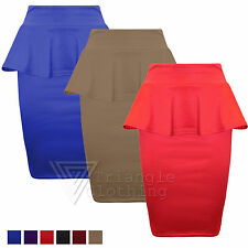 Ladies Womens Peplum Bodycon Pencil Skirt Fitted Frill Knee Length 8 14
