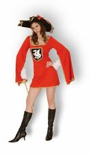 Womens Musketeer Fancy Dress Costume French Fighter Royal Hat Red Military
