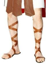 Fancy Dress Mens Leather Look Roman Sandals Greek Gladiator Toga Wrap Up Legs