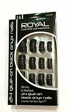 24 Glue On False Nails Black Onyx Square Tip Strong With Glue Halloween