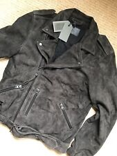 """ALL SAINTS ANTHRACITE GREY """"TAKEO"""" LEATHER BIKER JACKET COAT - M L - NEW & TAGS"""