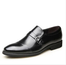 Mens Black Leather Lined Slip On Formal Dress Pointy Toe Oxfords Business Shoes