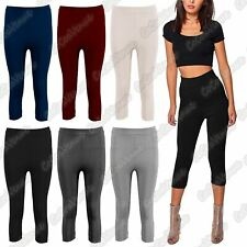 New Ladies 3/4 Length Fine Ribbed Leggings Fitness Cropped Active Pants Jeggings