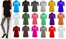 New Ladies Polo Short Sleeves Top High Neck 3/4 Sleeves Turtle Neck T-Shirt Top