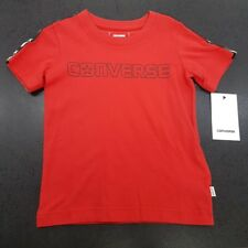 KIDS/BOYS CONVERSE CREW NECK SHORT SLEEVE TAPED T-SHIRT IN RED *867099-029*