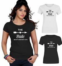 Personalised T Shirt The Bride Your Name Bride Tribe Ladies Hen Party Top Tee