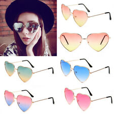 NEW Fashion Women Love Heart Shape Sunglasses Retro Gold Metal Frame Eyewear