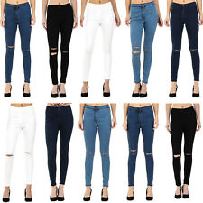 New Womens High Waisted Skinny Jeans Ripped & Plain Ladies Jeggings Sizes 6 - 18