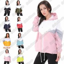 New Ladies Contrast Colour Block Windbreaker Long Sleeve Hooded Jacket Coat Top