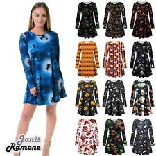New Ladies Halloween Skull Spider Web Print Skater Flared Party Swing Dress Top