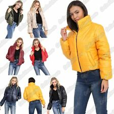 New Ladies Puffle Bubble Padded Quilted Collar Bomber Cropped Jacket Thick Coat