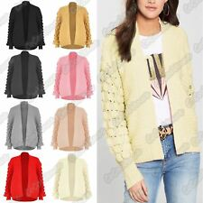 Ladies Long Bobble Sleeve Open Front Knitted Cardigan Chunky Winter Sweater Top