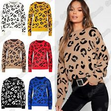 New Ladies Leopard Print Long Sleeve Knitted Jumper Winter Sweater Pullover Top