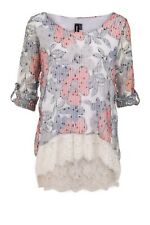 Izabel London Trendy Roll Sleeve Floral Print Knitted Tunic Top Szes  10/12