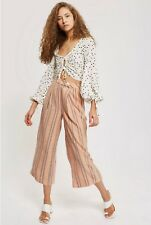 Topshop Nude Striped Wide Leg Crop Trousers. Sizes: 4,6,8,10,12,14