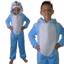 Childrens Girls Boys Blue Penguin All in One Onezee Jumpsuit, Ages 7-16