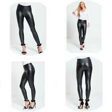 Woman High Waist Black Faux Leather Leggings Wet Look Shiny Stretchy Tight Pant