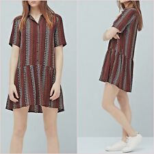 Black Red Ethnic Short Sleeve Skater Flowy Dress Mango Size 8 US 4 Zara Blogger❤