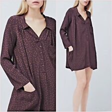 Purple Polka Dot Shirt Blouse Flowy Mango Dress Size 8 10 US 4 6 Zara Blogger ❤