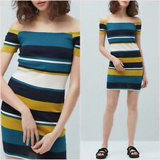 Yellow Striped Bardot Bodycon Knit Dress Mango Size M L 10 12 US 6 8 Zara ❤