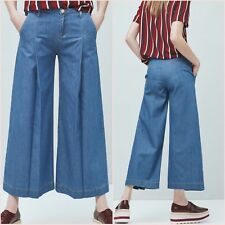 Blue Palazzo Culottes Denim Crop Wide Jeans Mango Size UK 10 US 6 Zara Blogger ❤