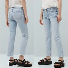 Mid Rise Blue Frayed Hem Crop Straight Jeans Mango Size 6 UK US 2 Zara Blogger ❤