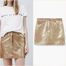 ❤ Metallic Gold Shiny Bodycon Mini Skirt Mango Size 12 US 8 Zara Blogger ❤