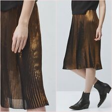❤ Metallic Gold Bronze Pleated Midi Skirt Mango Size S UK 8 US 4 Zara Blogger ❤