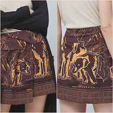 Brown Tan Ethnic Printed Wrap Skirt Mango Size UK 6 8 10 US 2 4 6 Zara Blogger ❤